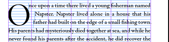 [Screen capture of InDesign CS6, showing how the story text book must be broken up to kern the drop cap on the page]