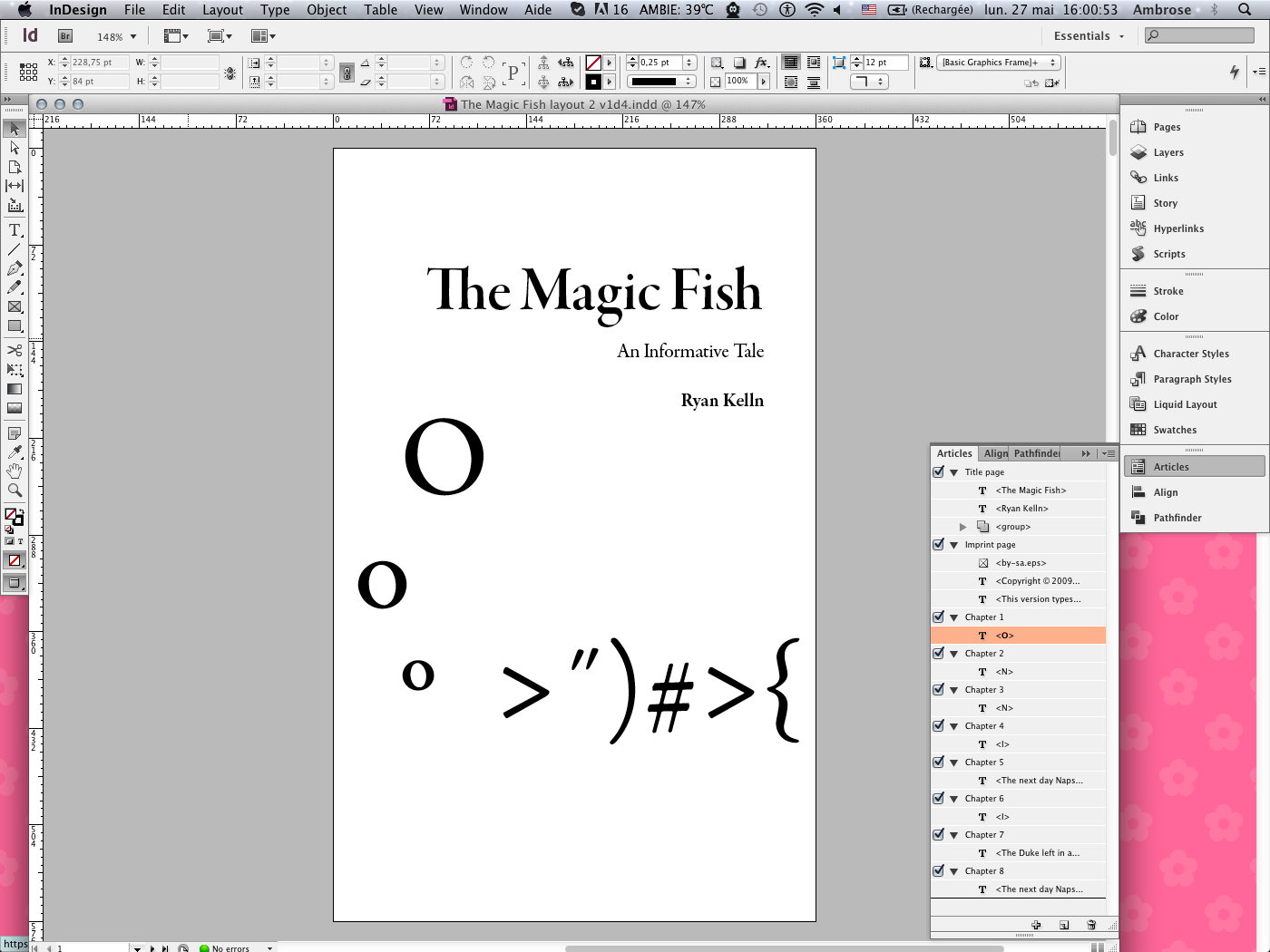 [Screen capture of InDesign CS6, showing how the fish logo is supposed to look like]