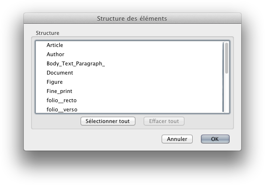 [Screen capture of InDesign CS6, showing how the names of paragraph styles have been truncated. Listed under 'Structure' are Article, Author, Body_Text_Paragraph_, Document, Figure, Fine_print, folio__recto, and folio__verso.]